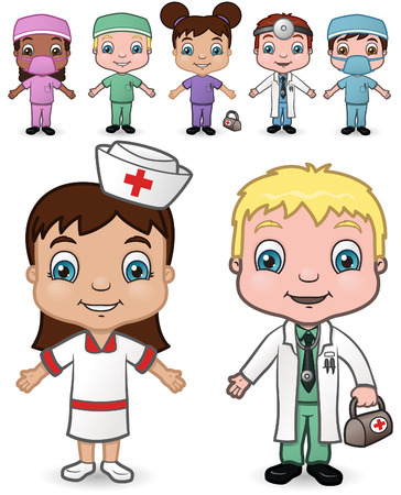 hispanic boy: This is the 4th set of a variety of children dressed as doctors and nurses.