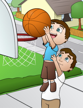 parenting: Father and Son Basketball -  illustration