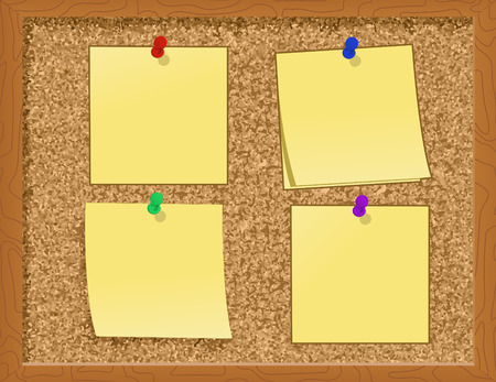 cork board: Notes pinned to a Cork Board - illustration