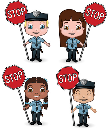 mujer policia: cruce de ni�os de guardia y se�ales de stop Vectores