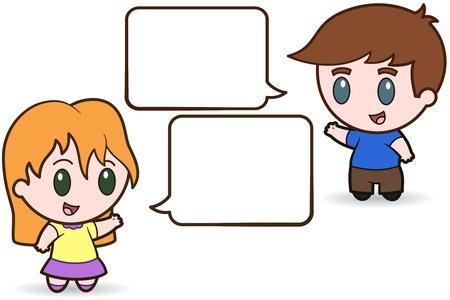 Los niños Talking - ilustración vectorial Foto de archivo - 9717553