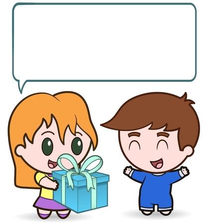 girl gives boy present - vector illustration Stock Vector - 9823432