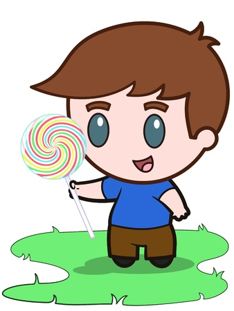 Little boy and his candy - vector illustration Illustration