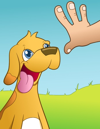 commands: training a dog - vector illustration