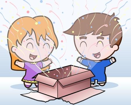 Children open present Stock Vector - 10059244
