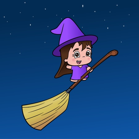 little girl witch  Illustration