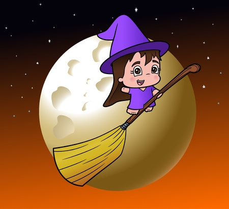 Cute little girl witch on her broom on a full moon night Illustration