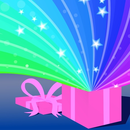 This is a vector illustration of the magic of opening a present. Illustration