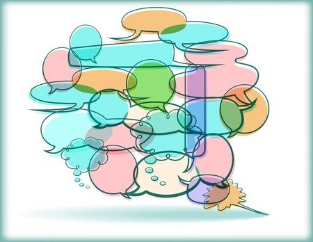 Word Balloon collage - vector illustration