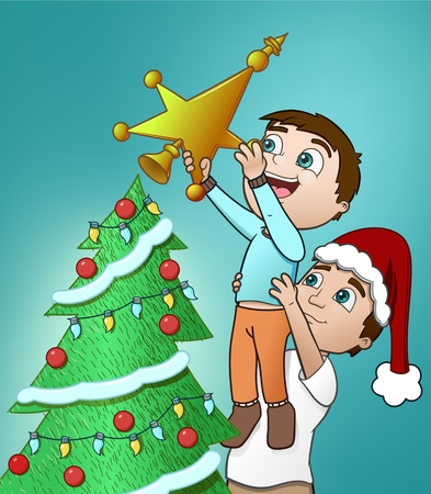Father and Son decorate a Christmas Tree Vector