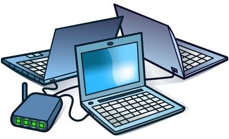 Laptops in a network - vector illustration Illustration