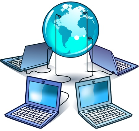 Global Laptop Computer Network - vector illustration