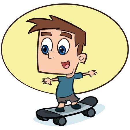 Skateboarding boy illustration Stock Vector - 13325085