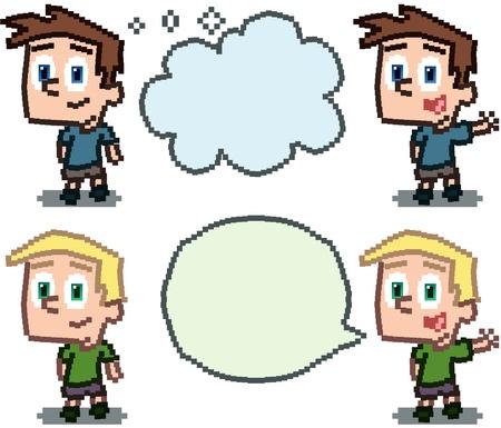 Little Boy pixel art and word balloons