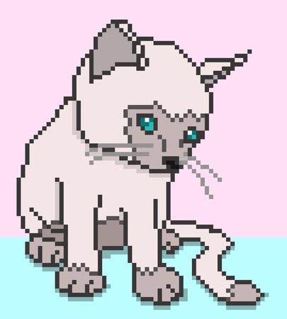 Pixel Kitten illustration Stock Vector - 13563949