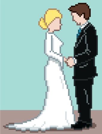 wedding vows: Pixel Wedding Background - vector illustration