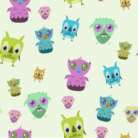 Seamless Cute Monster Background Illustration