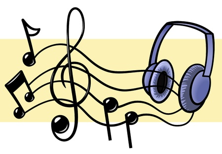 music flowing out of headphones Illustration