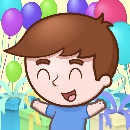 Boy celebrating his birthday Illustration