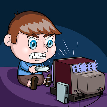 playing video game: Kid playing video game