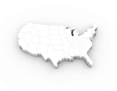 on white: USA map 3D white with states and clipping path Stock Photo