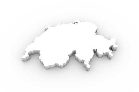 neutrality: Switzerland map 3D white with clipping path Stock Photo