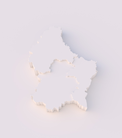 Luxembourg map 3D with states stepwise and clipping path photo