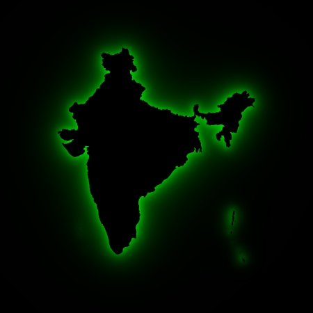 jagged: India map 3D green light Stock Photo