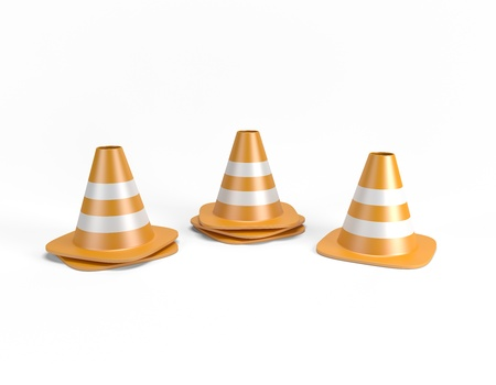 Traffic cones 3D with clipping path photo