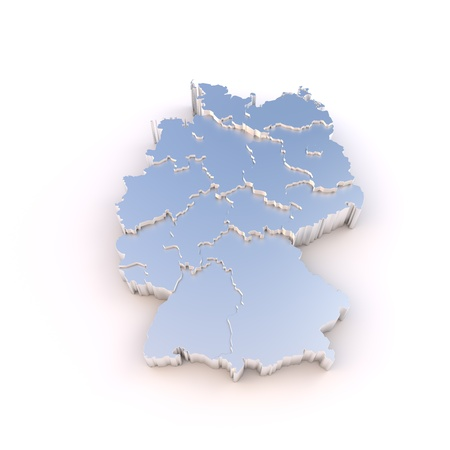 ddr: Germany map 3D metal with states stepwise and clipping path