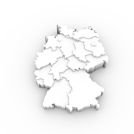 stuttgart: Germany map 3D white with states stepwise and clipping path
