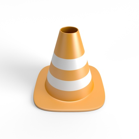 Traffic cone 3D with clipping path