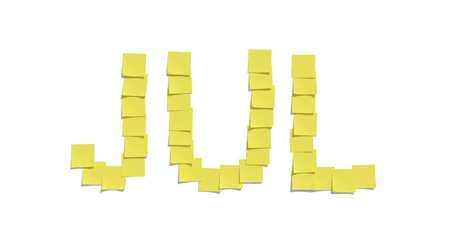 Yellow memo notes illustrating JULY and including clipping path photo
