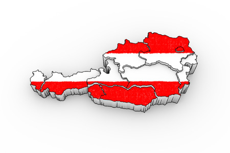 tirol: Austria map 3D with states - looks like a drawing with flag