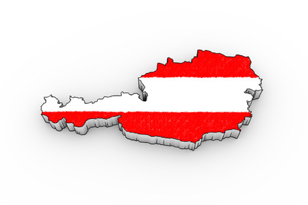 tirol: Austria map 3D - looks like a drawing with flag
