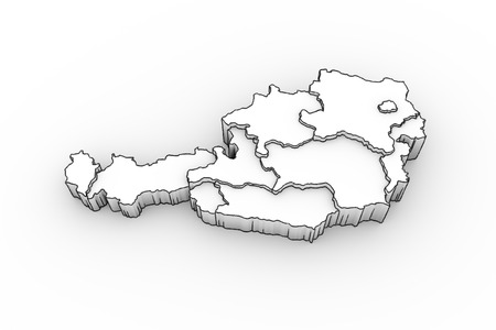 tirol: Austria map 3D with states in white - looks like a drawing