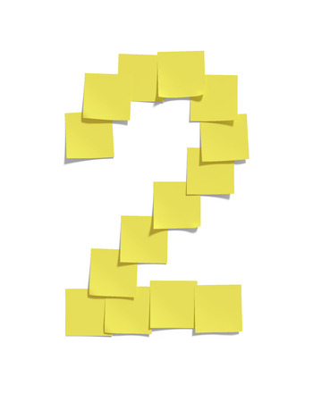 todo: Yellow memo notes illustrating TWO and including clipping path