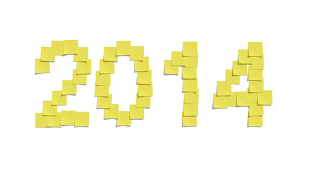 Yellow memo notes illustrating 2014 and including clipping path photo
