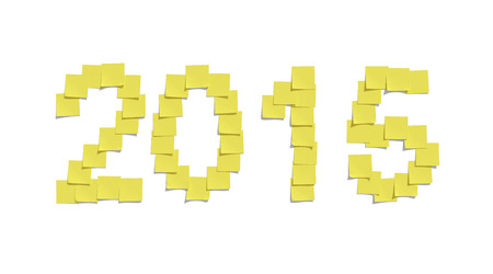 Yellow memo notes illustrating 2015 and including clipping path photo