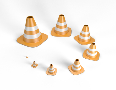 Traffic cones in different sizes