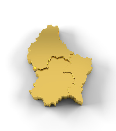 Luxembourg map 3D gold with states stepwise and clipping path photo