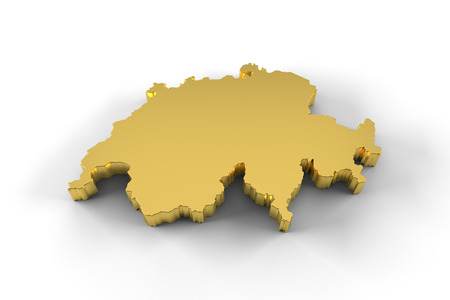neutrality: Switzerland map 3D gold with clipping path