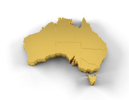 victoria: Australia map 3D gold with states and clipping path