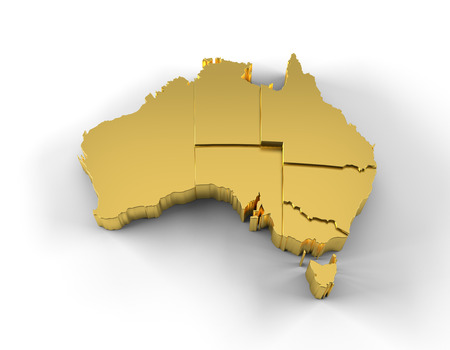 victoria: Australia map 3D gold with states step wise