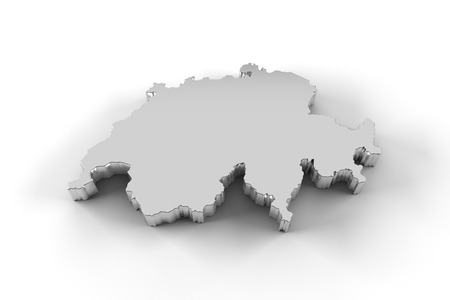 neutrality: Switzerland map 3D silver with clipping path