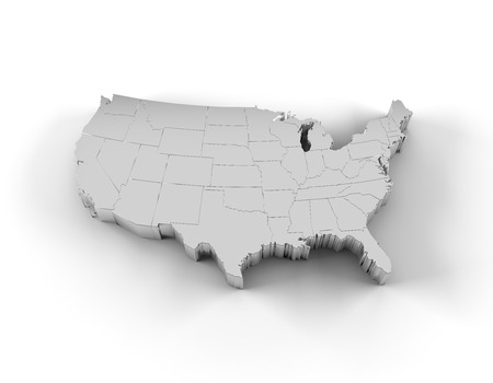 silver: USA map 3D silver with states