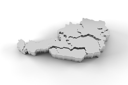 steiermark: Austria map 3D silver with states stepwise Stock Photo