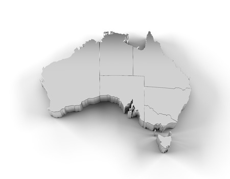 canberra: Australia map 3D silver with states Stock Photo