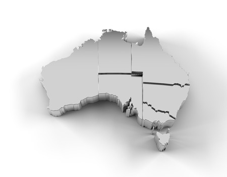 canberra: Australia map 3D silver with states stepwise