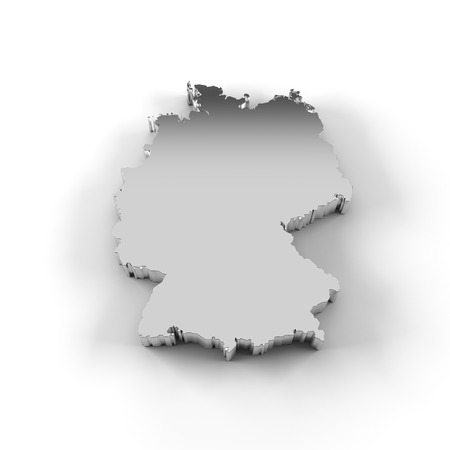 Germany map 3D silver with clipping path photo